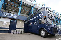The Millwall FC bus parked at the Cold Blow Lane end during Millwall vs Swansea City, Sky Bet EFL Championship Football at The Den on 30th June 2020