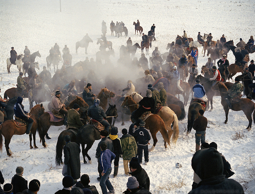 Buzkachi (central asian horse game) season starts in winter in Tajikistan, Dushanbe. En route to Afghanistan's Wakhan Corridor..Winter expedition through the Wakhan Corridor and into the Afghan Pamir mountains, to document the life of the Afghan Kyrgyz tribe. January/February 2008. Afghanistan