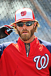 30 May 2011: Washington Nationals right fielder Jayson Werth awaits his turn in the batting cage prior to a game against his former club, the Philadelphia Phillies, at Nationals Park in Washington, District of Columbia. The Phillies defeated the Nationals 5-4 to take the first game of their 3-game series. Mandatory Credit: Ed Wolfstein Photo