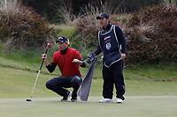 Marcel Siem studies his putt on the 15th with his caddie during the second day at the Betfred British Masters, Hillside Golf Club, Lancashire, England. 10/05/2019.<br /> Picture David Kissman / Golffile.ie<br /> <br /> All photo usage must carry mandatory copyright credit (&copy; Golffile | David Kissman)