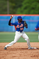 GCL Mets second baseman Cecilio Aybar (39) throws to first during the first game of a doubleheader against the GCL Marlins on July 24, 2015 at the St. Lucie Sports Complex in St. Lucie, Florida.  GCL Marlins defeated the GCL Mets 5-4.  (Mike Janes/Four Seam Images)