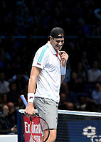 John Isner  in action against Novak Djokovic <br /> <br /> Photographer Hannah Fountain/CameraSport<br /> <br /> International Tennis - Nitto ATP World Tour Finals Day 2 - O2 Arena - London - Monday 12th November 2018<br /> <br /> World Copyright &copy; 2018 CameraSport. All rights reserved. 43 Linden Ave. Countesthorpe. Leicester. England. LE8 5PG - Tel: +44 (0) 116 277 4147 - admin@camerasport.com - www.camerasport.com