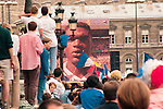 World Cup 1998, France 98 <br /> Marcel Desailly on the big screen at the town hall in Paris. (Exact date tbc). Photo by Tony Davis