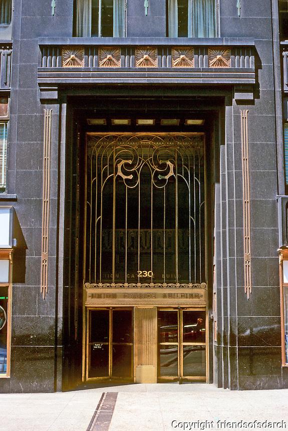 Chicago: Carbide & Carbon Building, 1929--entrance. Burnham Brothers. Photo '77.