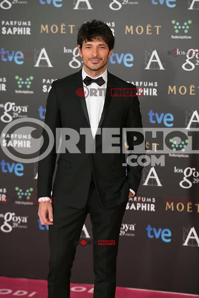 Andres Velencoso attend the 2015 Goya Awards at Auditorium Hotel, Madrid,  Spain. February 07, 2015.(ALTERPHOTOS/)Carlos Dafonte) /NORTEphoto.com