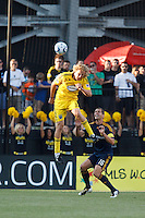 29 MAY 2010:  Steven Lenhart of the Columbus Crew (32) and Galaxy's #16 Gregg Berhalter during MLS soccer game between LA Galaxy vs Columbus Crew at Crew Stadium in Columbus, Ohio on May 29, 2010. Galaxy defeated the Crew 2-0.