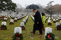 United States President Donald J. Trump visits Section 60 at Arlington National Cemetery in Arlington, Virginia on Saturday, December 15, 2018. <br /> Credit: Yuri Gripas / Pool via CNP /MediaPunch