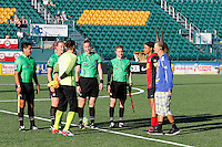 Rochester, NY - Saturday July 23, 2016: Margaret Domka, Ben Pilgrim, Victor Vazquez, Lauren Dearman, Nicole Barnhart, Jessica McDonald prior to a regular season National Women's Soccer League (NWSL) match between the Western New York Flash and FC Kansas City at Rochester Rhinos Stadium.