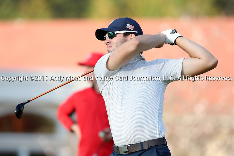 31 October 2016: UNCG's Joseph Cansler. The Third Round of the 2016 Bridgestone Golf Collegiate NCAA Men's Golf Tournament hosted by the University of North Carolina Greensboro Spartans was held on the West Course at the Grandover Resort in Greensboro, North Carolina.