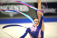 September 21, 2007; Patras, Greece;  Liubov Charkashyna of Belarus balances with ribbon during the All-Around final at 2007 World Championships Patras.  Liubov placed 8th in the AA to qualify Belarus for 2nd of 2 positions in the individual All-Around competition at Beijing 2008.  Photo by Tom Theobald. .