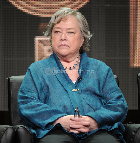 2015 FX SUMMER TCA: AHS: HOTEL cast member Kathy Bates during the AHS: HOTEL panel at the 2015 FX SUMMER TCA on Friday, Aug. 7 at the Beverly Hilton Hotel in Beverly Hills, CA. Credit: PGFM/MediaPunch