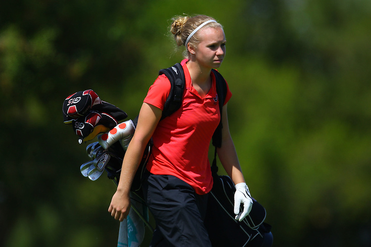 April 18, 2011; Hollister, CA, USA; Seattle Redhawks golfer Caitlin McCleary during the WCC Golf Championships at San Juan Oaks Golf Club.