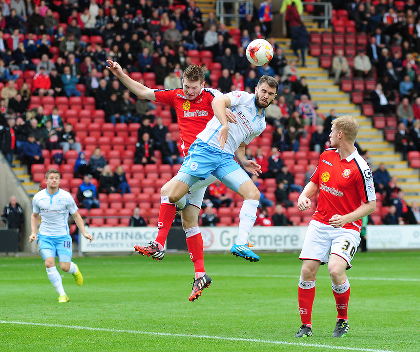 Coventry City's Josh McQuoid vies for possession with Crewe Alexandra's Adam Dugdale<br /> <br /> Photographer Chris Vaughan/CameraSport<br /> <br /> Football - The Football League Sky Bet League One - Crewe Alexandra v Coventry City - Saturday 11th October 2014 - Alexandra Stadium - Crewe<br /> <br /> &copy; CameraSport - 43 Linden Ave. Countesthorpe. Leicester. England. LE8 5PG - Tel: +44 (0) 116 277 4147 - admin@camerasport.com - www.camerasport.com