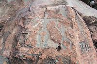 Authentic Hawaiian petroglyphs of family human figures, Olowalu, Maui