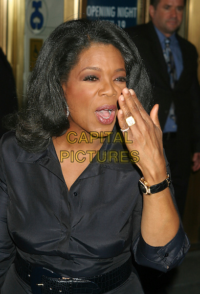 "OPRAH WINFREY.""Three Days of Rain"" Broadway Opening at the Bernard B. Jacobs Theatre in New York City, NY, USA..April 19th, 2006.Ref: IW.half length black ring hand to mouth funny watch.www.capitalpictures.com.sales@capitalpictures.com.©Capital Pictures"