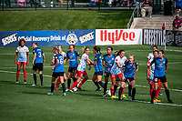 Kansas City, MO - Saturday September 9, 2017: Casey Short, Becca Moros, Shea Groom, Morgan Brian, Sydney Miramontez, Sydney Leroux Dwyer, Sofia Huerta, Becky Sauerbrunn during a regular season National Women's Soccer League (NWSL) match between FC Kansas City and the Chicago Red Stars at Children's Mercy Victory Field.