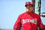 28 February 2010: Washington Nationals catcher Ivan Rodriguez watches activity outside the batting cage during Spring Training at the Carl Barger Baseball Complex in Viera, Florida. Mandatory Credit: Ed Wolfstein Photo
