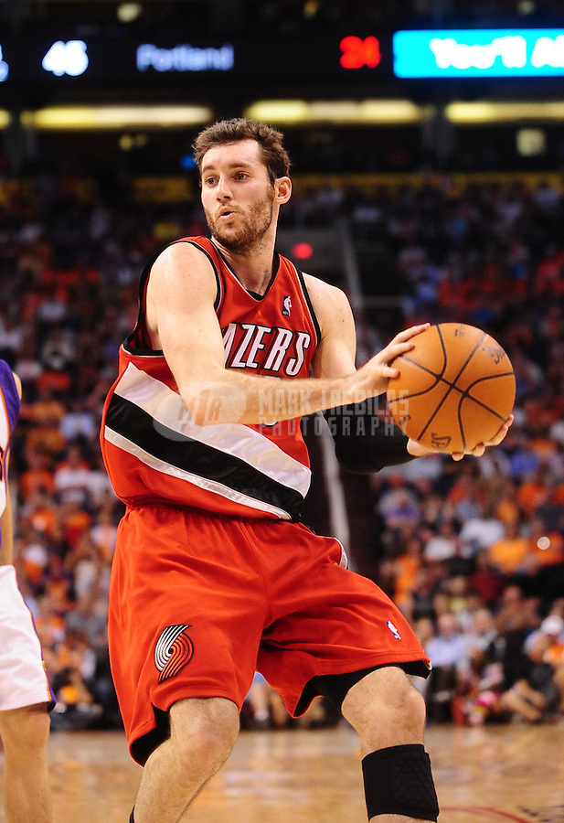 Apr. 20, 2010; Phoenix, AZ, USA; Portland Trail Blazers guard Rudy Fernandez against the Phoenix Suns in game two in the first round of the 2010 NBA playoffs at the US Airways Center. Phoenix defeated Portland 119-90. Mandatory Credit: Mark J. Rebilas-