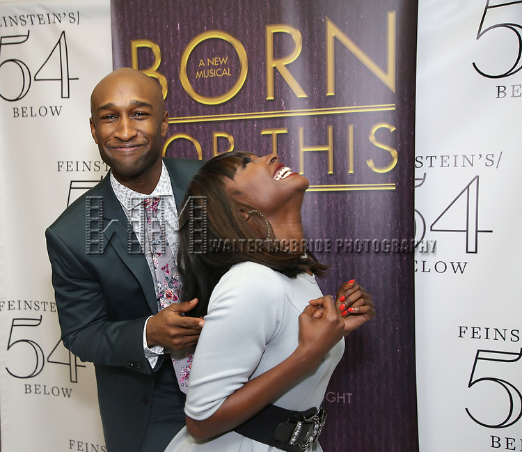 """Donald Webber Jr. and Loren Lott backstage after a Song preview performance of the Bebe Winans Broadway Bound Musical """"Born For This"""" at Feinstein's 54 Below on November 5, 2018 in New York City."""