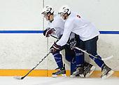Jake Gardiner (USA - 28), Matt Donovan (USA - 4) - Team USA practiced at the Agriplace rink on Monday, December 28, 2009, in Saskatoon, Saskatchewan, during the 2010 World Juniors tournament.