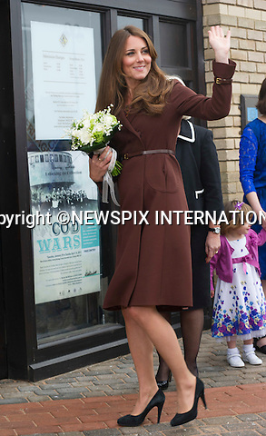 KATE EXPECTING 2ND CHILD<br /> Kensington Palace has confirmined that the Duke and Duchess of Cambridge are expecting their second child.<br /> <br /> <br /> CATHERINE, DUCHESS OF CAMBRIDGE <br /> visited The National Fishing Heritage Centre, Humberside Fire and Rescue Service and Havelock Academy in Grimsby, Lincolnshire _05/03/2013<br /> It was a first visit to a programme run by the Prince's Trust by the Duchess who is 5 months pregnant.<br /> Mandatory credit photo:&copy;Dias/NEWSPIX INTERNATIONAL<br /> <br /> **ALL FEES PAYABLE TO: &quot;NEWSPIX INTERNATIONAL&quot;**<br /> <br /> PHOTO CREDIT MANDATORY!!: NEWSPIX INTERNATIONAL(Failure to credit will incur a surcharge of 100% of reproduction fees)<br /> <br /> IMMEDIATE CONFIRMATION OF USAGE REQUIRED:<br /> Newspix International, 31 Chinnery Hill, Bishop's Stortford, ENGLAND CM23 3PS<br /> Tel:+441279 324672  ; Fax: +441279656877<br /> Mobile:  0777568 1153<br /> e-mail: info@newspixinternational.co.uk