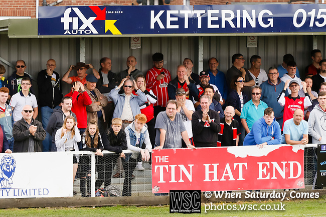 Kettering fans in the Tin Hat End. Kettering Town 1 Leiston 2, Evo Stick Southern League Premier Central, Latimer Park. Kettering Town are a famous name in non-league football. After financial problems, relegations, and relocation, the club are once again upwardly mobile. Despite losing to Leiston, Kettering finished the season as Champions and were promoted to the National League North.