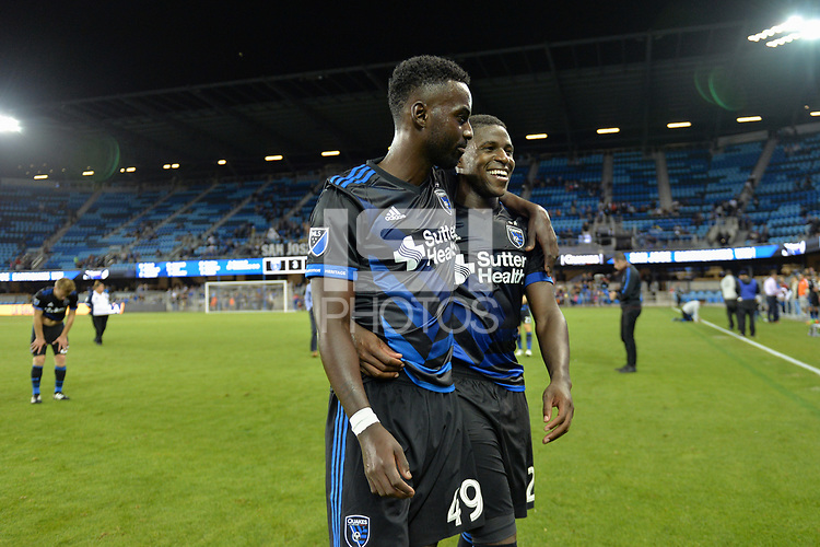 San Jose, CA - Monday July 10, 2017: Simon Dawkins, Kofi Sarkodie after a U.S. Open Cup quarterfinal match between the San Jose Earthquakes and the Los Angeles Galaxy at Avaya Stadium.