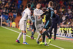 Real Madrid's Lucas Vazquez and Danilo Luiz Da Silva and Real Sociedad's David Zurutuza during La Liga match between Real Madrid and Real Sociedad at Santiago Bernabeu Stadium in Madrid, Spain. January 29, 2017. (ALTERPHOTOS/BorjaB.Hojas)