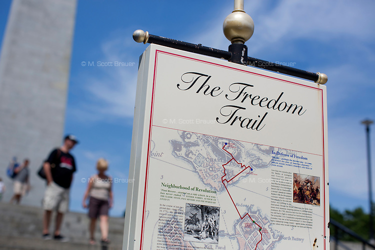 Bunker Hill in Charlestown is one end of the Freedom Trail walking tour of Revolutionary War historical sites in Boston, Massachusetts, USA.