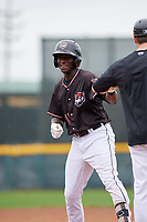 Erie SeaWolves right fielder Daz Cameron (15) during a game against the New Hampshire Fisher Cats on June 20, 2018 at UPMC Park in Erie, Pennsylvania.  New Hampshire defeated Erie 10-9.  (Mike Janes/Four Seam Images)