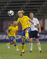 Sweden defender Sara Thunebro (6) clears the ball. The US Women's national team beat Sweden, 3-0, at Rentschler Field on July 17, 2010.
