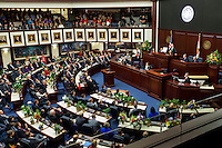 TALLAHASSEE, FLA. 3/4/14-Gov. Rick Scott during the State of the State address on the opening day of the legislative session, March 4, 2014 at the Capitol in Tallahassee.<br /> <br /> COLIN HACKLEY PHOTO