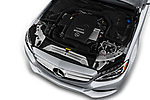Car stock 2018 Mercedes Benz C-Class Sedan C350e Plug-in Hybrid 4 Door Sedan engine high angle detail view