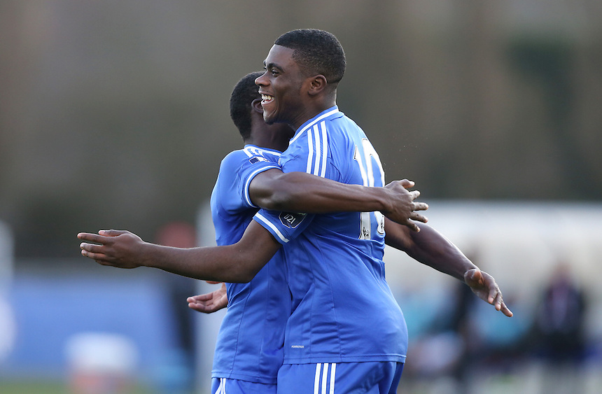 Jeremie Boga celebrates with Fankaty Dabo after scoring the 2nd goal for Chelsea<br /> <br /> Photo by Rob Newell/CameraSport<br /> <br /> Football - UEFA Youth League last 16 - Chelsea U19 v AC Milan U19 - Tuesday 25th February - Cobham - London<br /> <br /> &copy; CameraSport - 43 Linden Ave. Countesthorpe. Leicester. England. LE8 5PG - Tel: +44 (0) 116 277 4147 - admin@camerasport.com - www.camerasport.com