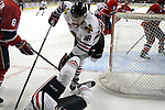 04/30/11--Winterhawks' Brad Ross tries to keep his balance after colliding with teammate Seth Swenson in Game 5 of the Western Conference Championship against Spokane at the Rose Garden...Photo by Jaime Valdez........................................