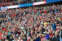 Barnsley fans celebrate during the Johnstone's Paint Trophy Final match between Oxford United and Barnsley at Wembley Stadium, London, England on 3 April 2016. Photo by Alan  Stanford / PRiME Media Images.