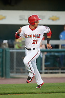 Harrisburg Senators designated hitter Neftali Soto (21) scores a run during a game against the Bowie Baysox on May 16, 2017 at FNB Field in Harrisburg, Pennsylvania.  Bowie defeated Harrisburg 6-4.  (Mike Janes/Four Seam Images)