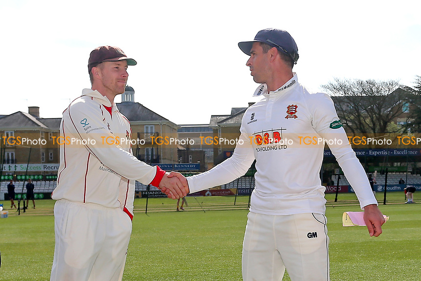 Lancashire captain Steven Croft (L) shakes hands with his Essex counterpart Ryan ten Doeschate during Essex CCC vs Lancashire CCC, Specsavers County Championship Division 1 Cricket at The Cloudfm County Ground on 7th April 2017