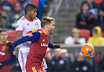 Real Salt Lake forward Alfredo Ortuno (16) keeps the ball from New York Red Bulls defender Fidel Escobar (29) in the first half Saturday, March 17, 2018, during the Major League Soccer game at Rio Tiinto Stadium in Sandy, Utah. (© 2018 Douglas C. Pizac)