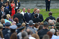 May 15, 2013  (Washington, DC)  President Barack Obama speaks to survivors of fallen officers at the 32nd Annual Peace Officers memorial Service on the west lawn of the U.S. Capitol.  (Photo by Don Baxter/Media Images International)