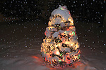 Snowflakes and  Christmas tree set outdoors, covered in colored lights and fresh snow. Boulder, Colorado, USA .  John leads private photo tours in Boulder and throughout Colorado. Year-round Boulder photo tours.