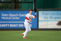 Palm Beach Cardinals outfielder Cole Kreuter (25) catches a fly ball during a Florida State League game against the Clearwater Threshers on August 9, 2019 at Roger Dean Chevrolet Stadium in Jupiter, Florida.  Palm Beach defeated Clearwater 3-0 in the second game of a doubleheader.  (Mike Janes/Four Seam Images)