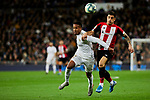 Eder Militao of Real Madrid and Yuri Berchiche of Athletic Club fight for the ball during La Liga match between Real Madrid and Athletic Club de Bilbao at Santiago Bernabeu Stadium in Madrid, Spain. December 22, 2019. (ALTERPHOTOS/A. Perez Meca)