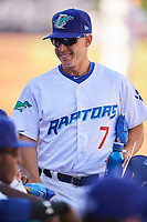 Ogden Raptors manager Jeremy Rodriguez (7) before the game against the Orem Owlz at Lindquist Field on June 19, 2018 in Ogden, Utah. The Raptors defeated the Owlz 7-2. (Stephen Smith/Four Seam Images)