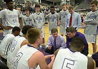 NWA Democrat-Gazette/ANDY SHUPE<br /> Fayetteville coach Kyle Adams and assistant coach Brad Stamps directs his players Tuesday, Feb. 13, 2018, during the second half of play against Heritage in Bulldog Arena in Fayetteville. Visit nwadg.com/photos to see more photographs from the games.