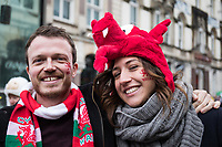 Wales fans with facepaint<br /> <br /> Photographer Simon King/CameraSport<br /> <br /> International Rugby Union - 2017 Under Armour Series Autumn Internationals - Wales v Australia - Saturday 11th November 2017 - Principality Stadium - Cardiff<br /> <br /> World Copyright &copy; 2017 CameraSport. All rights reserved. 43 Linden Ave. Countesthorpe. Leicester. England. LE8 5PG - Tel: +44 (0) 116 277 4147 - admin@camerasport.com - www.camerasport.com