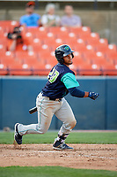 Lynchburg Hillcats catcher Angel Lopez Alvarez (20) follows through on a swing during the first game of a doubleheader against the Frederick Keys on June 12, 2018 at Nymeo Field at Harry Grove Stadium in Frederick, Maryland.  Frederick defeated Lynchburg 2-1.  (Mike Janes/Four Seam Images)