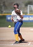 Wildcats' Nicole Lesniak pitches against Colorado Northwestern at Edmonds Sports Complex Carson City, Nev., on Friday, April 17, 2015.<br /> Photo by Cathleen Allison