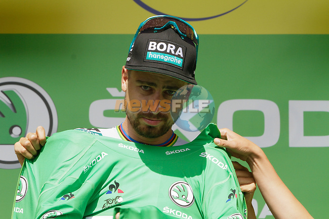 Peter Sagan (SVK) Bora-Hansgrohe retains the points Green Jersey at the end of Stage 12 of the 2019 Tour de France running 209.5km from Toulouse to Bagneres-de-Bigorre, France. 18th July 2019.<br /> Picture: ASO/Colin Flockton | Cyclefile<br /> All photos usage must carry mandatory copyright credit (© Cyclefile | Colin Flockton)