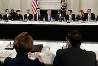 United States President Donald Trump speaks during a  listening session with manufacturing CEOs  in the State Dining Room  of the White House on February 23, 2017 in Washington, DC. Photo Credit: Olivier Douliery/CNP/AdMedia